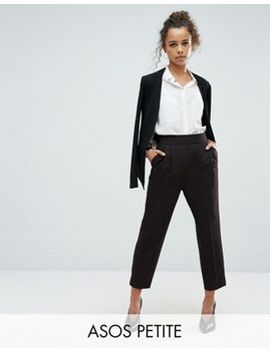 asos-design-petite-high-waist-tapered-trousers by asos-design