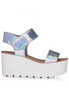 03b02a49564e Sun Wedge Heel Platform Flatform Sandal Shoes Silver Hologram by Sun Uk 3