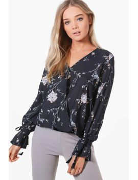 printed-wrap-over-blouse by boohoo