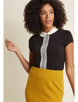 peter-pan-collar-top-with-crocheting-in-black by modcloth