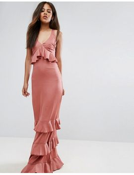 Studio Ruffle Maxi Dress With Lace Inserts - Withered rose Y.A.S