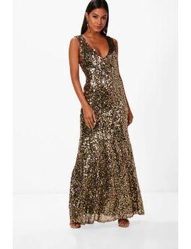 f434b39eb0e9b Shoptagr | Clare Sequin Plunge Fishtail Maxi Dress by Boohoo