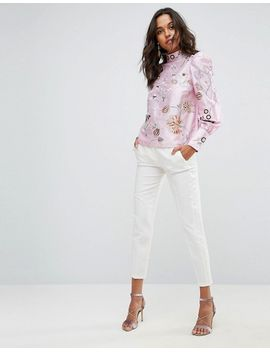 Premium Embroidered Top with Exaggerated Sleeve - Pink Asos