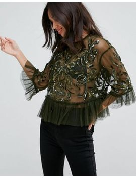 asos-mesh-top-with-velvet-applique-&-sequins by asos-collection
