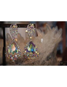 Ab Large Crystal Earrings Pageant