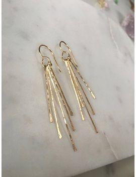 Gold Fringe Earrings Tel Hammered
