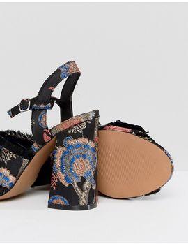 HEATHER Floral Embellished Heeled Sandals - Jacquard Asos
