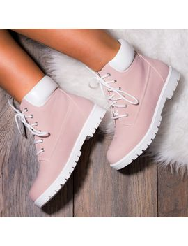 f61cddd5b10 Shoptagr | Morgan Lace Up Flat Ankle Boots Shoes Pink Nubuck Leather ...