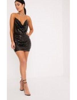 tarria-black-sequin-chain-choker-mini-dress by prettylittlething