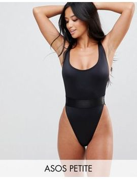 asos-design-petite-high-leg-elastic-waist-swimsuit by asos-design