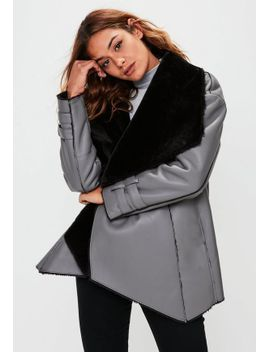premium-grey-waterfall-shearling-jacket by missguided
