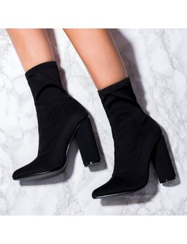 shoptagr scirica sock fitted pointed toe cylinder heel ankle boots