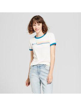 womens-stranger-things-short-sleeve-retro-ride-ringer-graphic-t-shirt-(juniors)---white by stranger-things