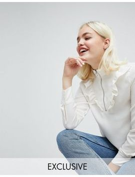 monki-ruffle-front-zip-up-blouse by monki