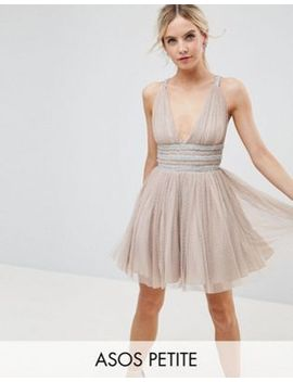 asos-petite-tulle-strappy-embellished-mini-skater-dress by asos-petite