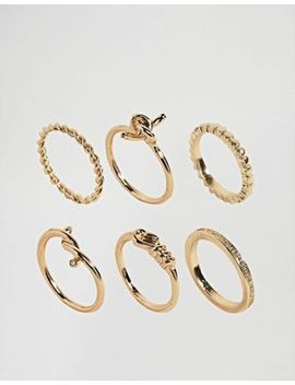 asos-pack-of-6-fine-twist-rings by asos-collection