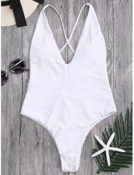 popular-saleone-piece-high-cut-cross-back-swimwear---black-l by zaful