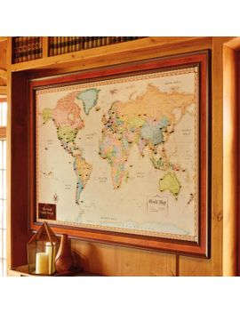 Shoptagr world magnetic travel map with burlwood frame by frontgate frontgate world magnetic travel map with burlwood frame gumiabroncs Images