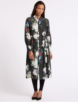 floral-print-long-sleeve-shirt-dress by marks-&-spencer