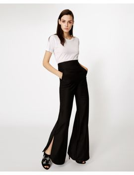 Wool Side Slit Pant by Nicole Miller