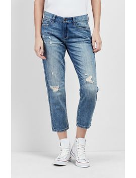 Distressed Boyfriend Jeans by Nicole Miller