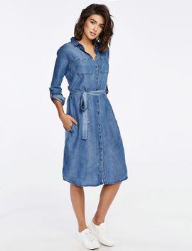 שמלה במראה ג'ינס עם חגורה by Castro