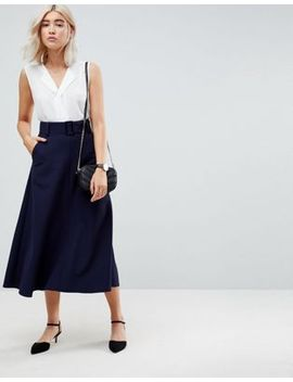 asos-tailored-simple-midi-skirt-with-selfbelt by asos-collection