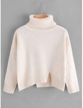 saleslit-oversized-turtleneck-sweater---red by zaful