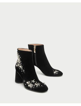 high-heel-velvet-ankle-boots-with-pearl-beads by zara