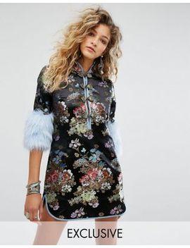 sacred-hawk-satin-brocade-dress-with-faux-fur-cuffs by sacred-hawk