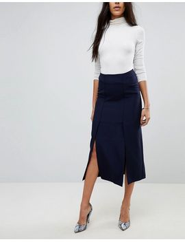asos-tall-tailored-column-skirt-with-split-detail by asos-tall