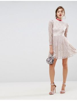asos-lace-puff-sleeve-mini-dress-with-ribbon-neck by asos-collection