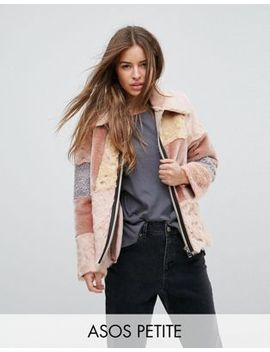 asos-petite-jacket-in-patchwork-faux-fur by asos-petite