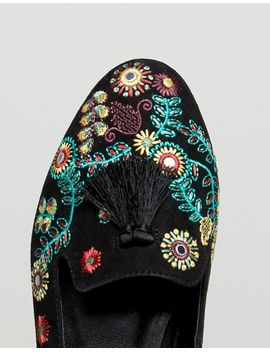 Embroidered Tab Tassel Slipper - Black New Look