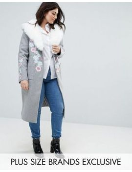 dolly-&-delicious-plus-premium-embroidered-oversized-peacoat-with-fluffy-collar-detail by dolly-delicious-plus