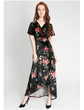 Georgia Sky Velvet Floral Wrap Maxi Dress by Ruche