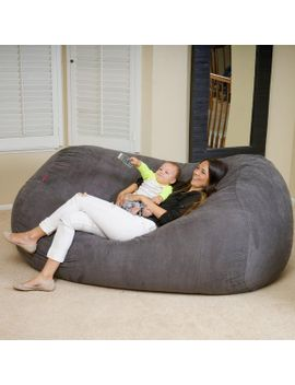 David Grey Faux Suede 8 Foot Lounger Bean Bag by Gdf Studio