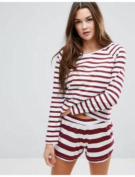 asos-burgundy-stripe-long-sleeve-tee-&-short-pajama-set by asos-collection