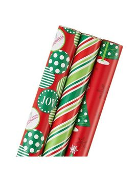 Shoptagr red trees and stripes christmas holiday gift wrap 3ct by shop all american greetings m4hsunfo