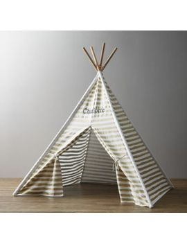 Metallic Printed Canvas Teepee   Gold Stripe by Restoration Hardware Baby And Child