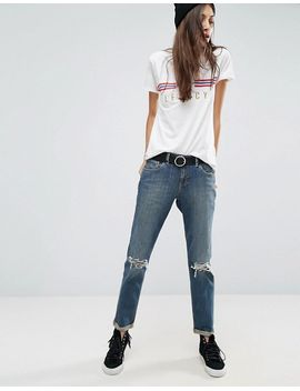 KIMMI Shrunken Boyfriend Jeans in Misty Aged Vintage Wash with Busts and Rips - Aged vintage wash Asos