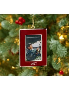 2017 dated enamel frame ornament rectangle by pottery barn