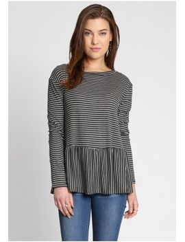 Fine Lines Stripe Peplum Top by Ruche