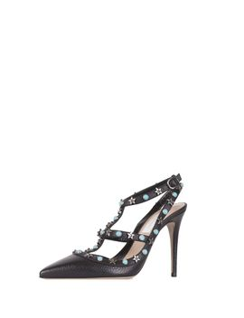 Leather Star Studded Rolling Rockstud Pumps   Black by Valentino