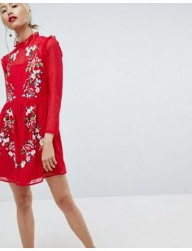 asos-pretty-embroidered-mini-dress-on-dobby by asos-collection