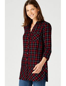 Mixed Plaid Curved Hem Tunic by J.Jill