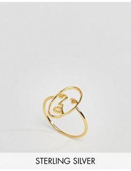 asos-gold-plated-sterling-silver-face-ring by asos-collection