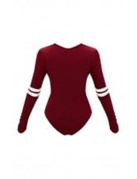burgundy-jersey-sport-stripe-longsleeve-bodysuit by prettylittlething