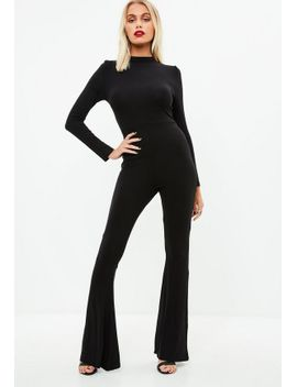 black-flared-leg-jersey-jumpsuit by missguided