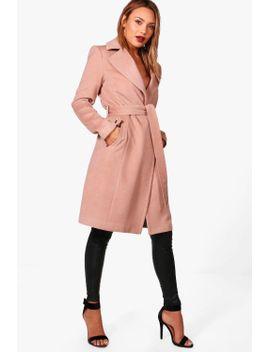 frankie-belted-wool-look-coat-with-zip-detail by boohoo
